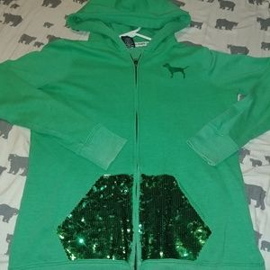 Victoria's Secret Green Sequin Love Pink Hoodie